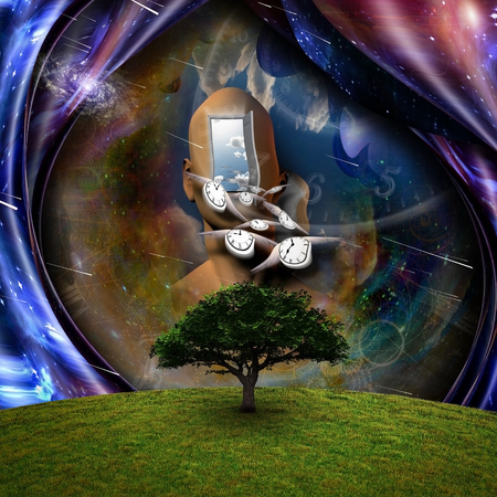 Surrealism. Flow of Time through space. 3D rendering.