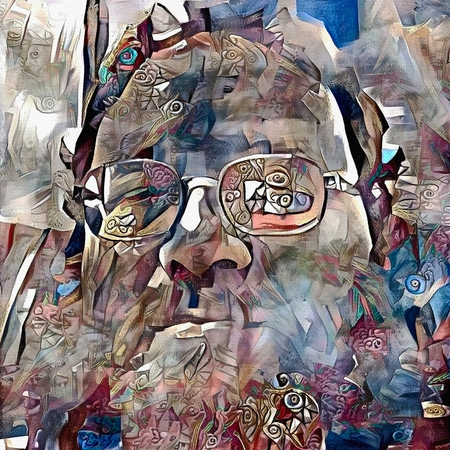 Modern abstract painting. Bearded man in glasses