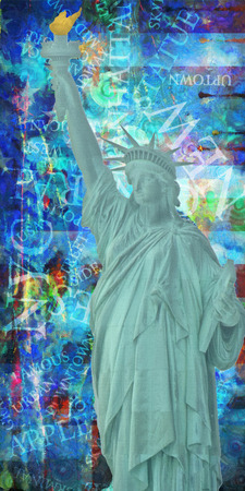 America NYC with Statue of Liberty Stock Photo