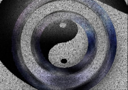 Yin Yang sign. Image composed entirely of words, text
