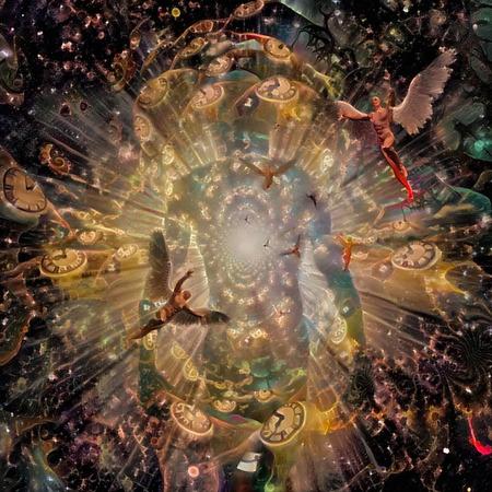 Human soul, angels and winged clocks