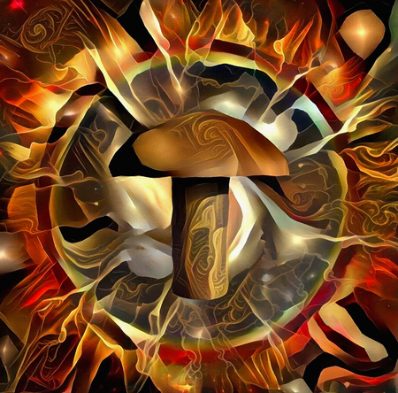 Modern abstract. Rivet in circle of fire