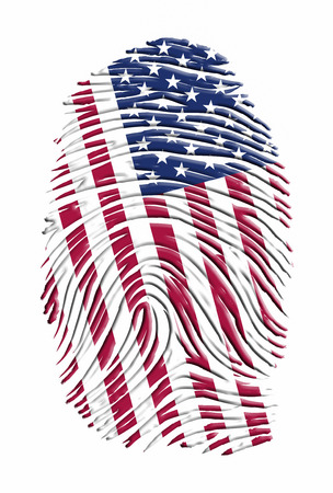 USA fingerprint. Stars and stripes. 3D rendering Stok Fotoğraf
