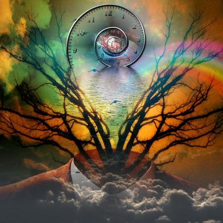 Surreal artisitc image with time spiral Reklamní fotografie