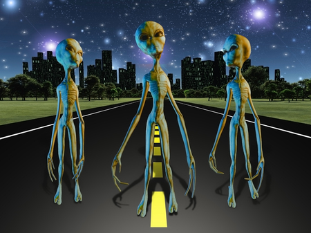 Aliens on road to city