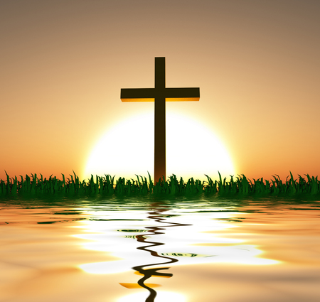 Sunset or sunrise with cross and water 版權商用圖片