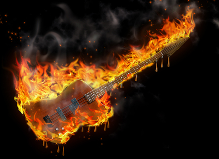 Burning and melting bass guitar in black space