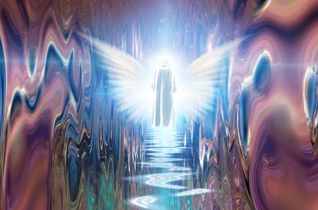 Figure in white cloak before angel being