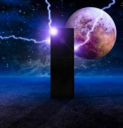 Sci-fi composition. Monolith on Lifeless Planet