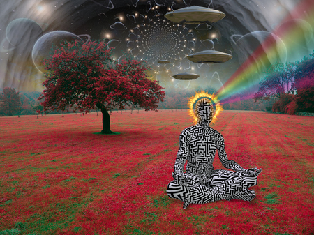 Man meditates in lotus pose. Space saucers in the sky above surreal landscape Stock fotó