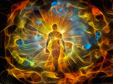 Spirituelle Malerei in lebendigen Farben. Inneres Licht