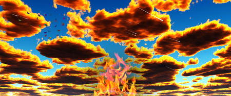 Surreal landscape. Fire in the sky. Butterflies in vivid clouds