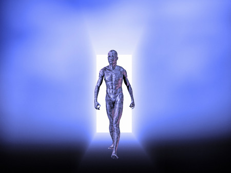 Cyborg man with electric circuit pattern on body