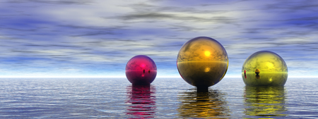 Colorful spheres hovers above ocean