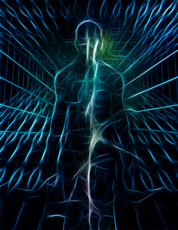 Surrealism. Shining pure energy inside human silhouette and binary code Reklamní fotografie
