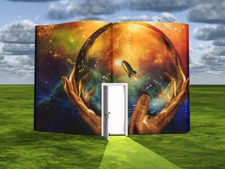 Libro con escena de ciencia ficción y puerta abierta de luz Foto de archivo