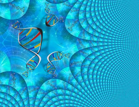 DNA Genetics fractal. 3D rendering