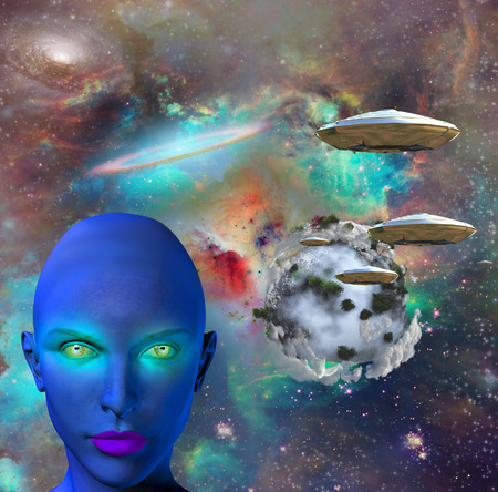 The face of female alien. Flying saucers in colorful universe and abstract exoplanet on a background.