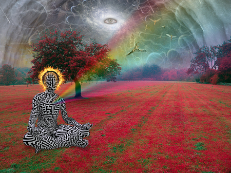 Man meditates in lotus pose. All seeing eye and angel in the sky above surreal landscape