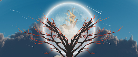 Mystic tree in moonlight. Ancient ship in the sky.