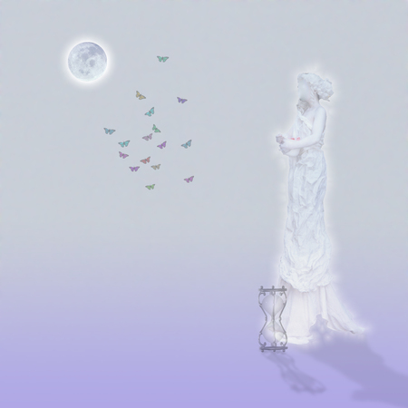 Woman`s marble statue and butterflies. Glowing moon and hourglass. Standard-Bild - 119596257