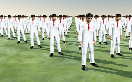Army of men in white suits