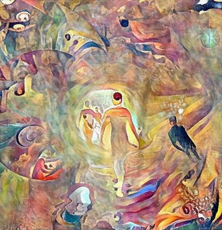 Abstraktes Gemälde. Menschenseelen in einem Lichttunnel Standard-Bild