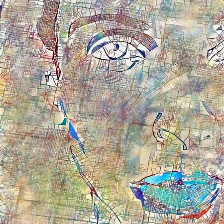 Modern digital painting. Woman's face 写真素材