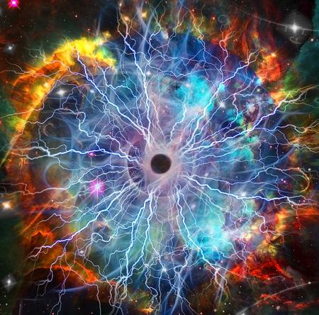Sci-Fi Digital Art. The Source of Power. Lightnings in vivid space