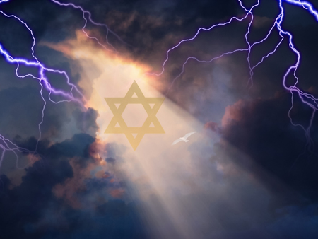 Star of David in Sky with Lightnings
