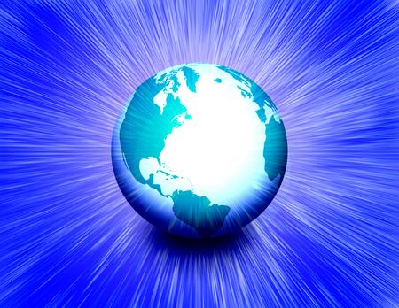Shining Planet Earth. 3D rendering