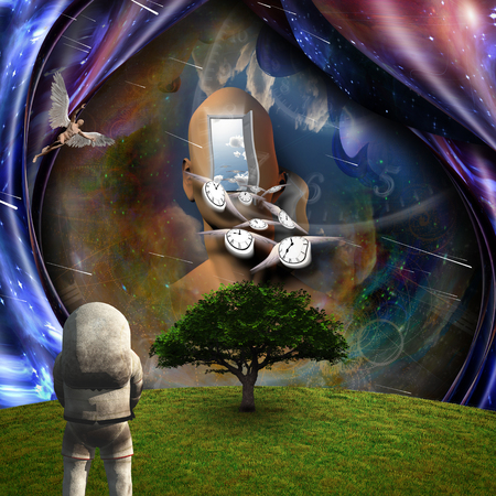 Surrealism. Flow of Time through space. Astronaut in the green field. Man with wings represents angels. 3D renderin
