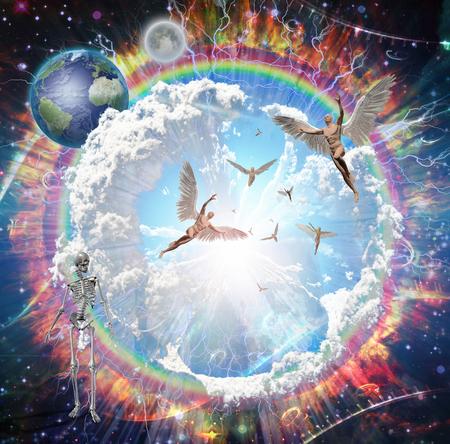 Vivid galaxy. Naked winged men represents angels. 3D rendering