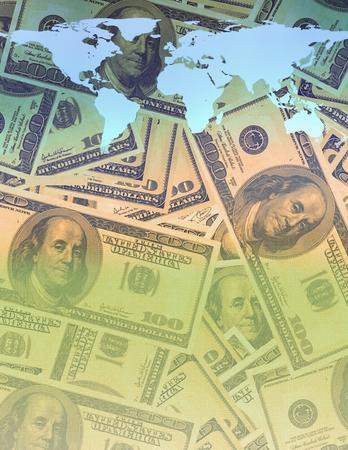 100 dollars banknotes, world map on money background