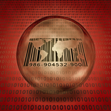 World map and barcode inside bubble. Binary code on a background.