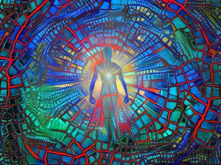 La silhouette de l'homme avec une lumière brillante dans sa poitrine