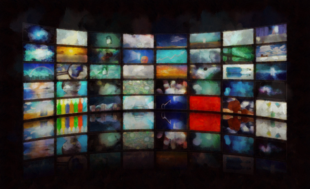 Mass media. Wall of TV's screens