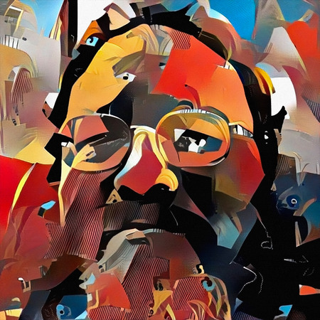 Abstract painting. Portrait of man with glasses. Saturated colors