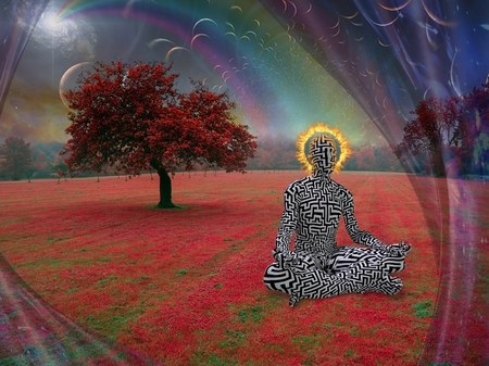 Man with burning halo meditates in lotus pose. Endless dimensions in the sky above surreal landscape Stock fotó