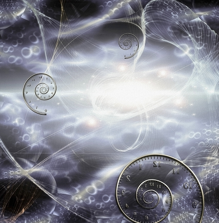 Moment of creation. Spirals of time and matter in endless space