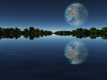 Surreal digital art. New Home. Green trees in the water. Giant terraformed moon in the sky.