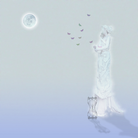 Woman`s marble statue and butterflies. Glowing moon and hourglass. Standard-Bild - 120269015