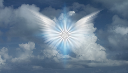 Winged angel star in cloudy sky