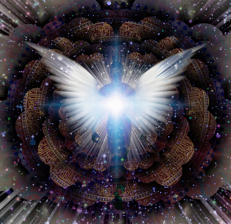 Shining wings and man's aura in a center of Indian mandala. Multi-layered spaces representing endless dimensions.