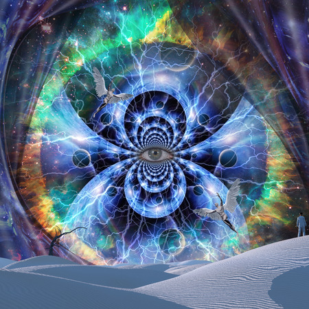 The Eye of Universe. Angels in vivid space. Lonely man in surreal desert