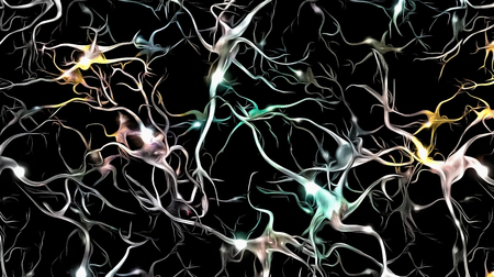 Neurons network with glowing nodes