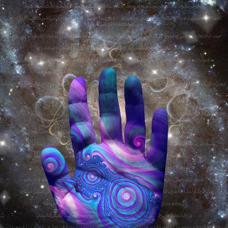 Mano morada en un espacio infinito