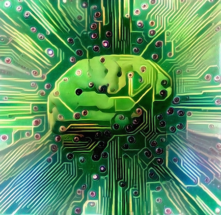 Electronic brain. Sci-Fi painting in green colors Banque d'images