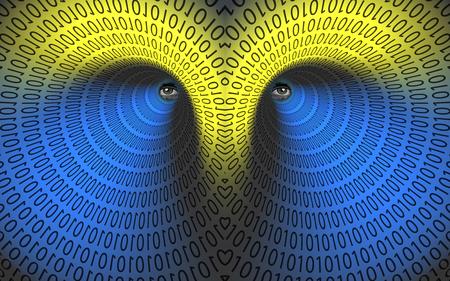 Eyes in binary tunnel. 3D rendering