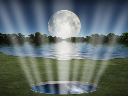 Portal or wormhole to another world. Moon over green landscape Stockfoto